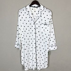 Kate Spade ♠️ Nightshirt/Dress with Black Hearts L